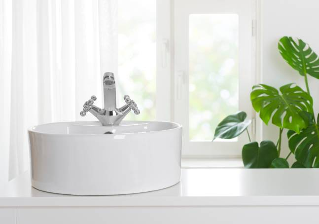 Stone sink with protective film