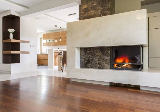 Protective film for stone fireplace